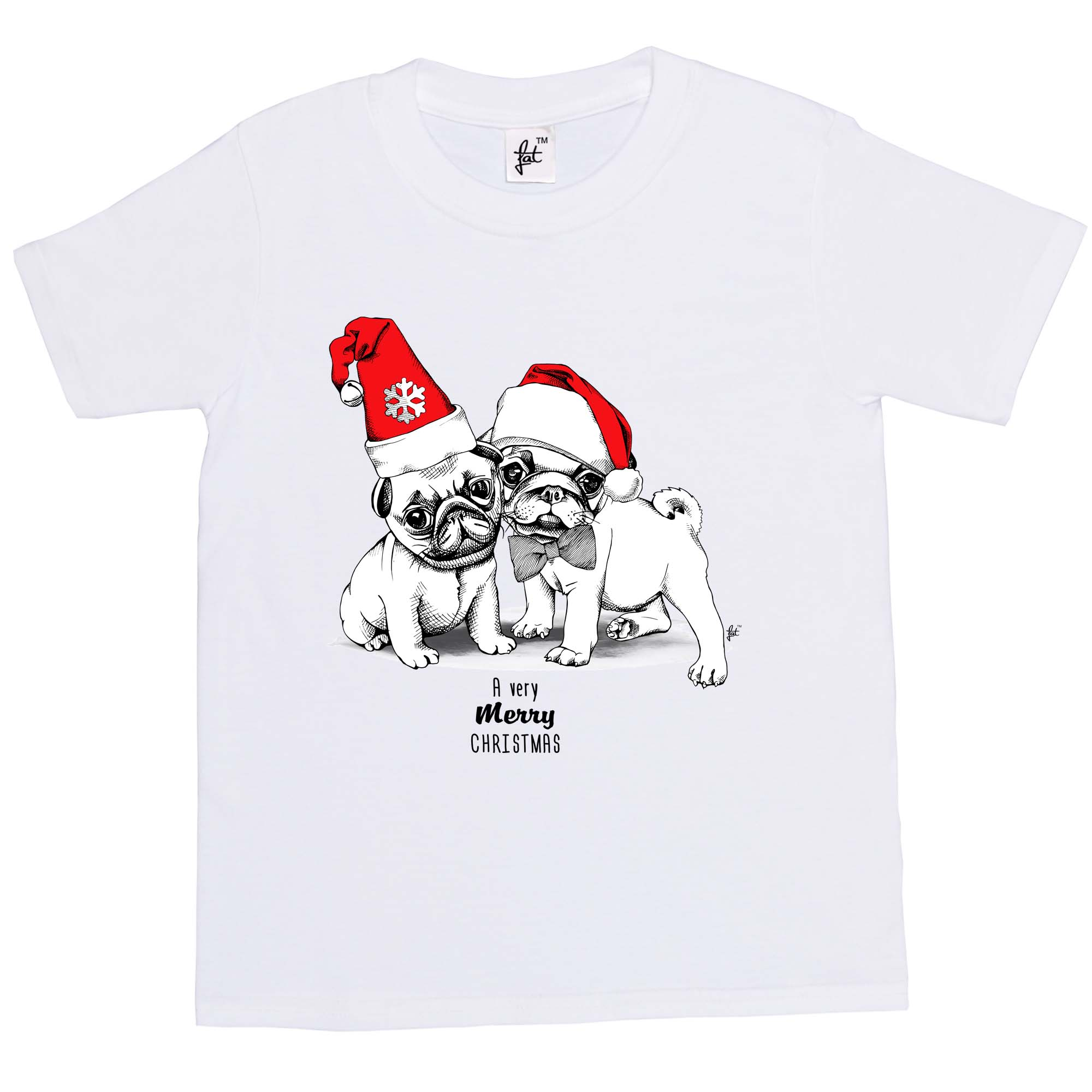 A Very Merry Christmas Cute Pug Puppy Love Santa Hat Kids Boys